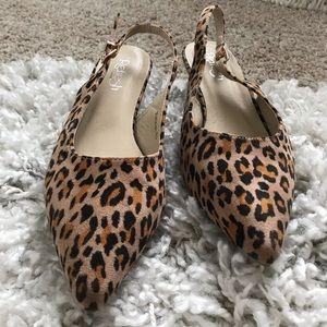Shoes - Cheetah print pointed kitten heel work flats